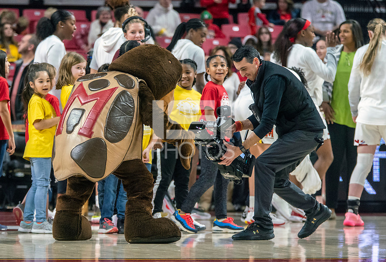 COLLEGE PARK, MD - FEBRUARY 9: Talon, mscot of Maryland poses for the camera during a game between Rutgers and Maryland at Xfinity Center on February 9, 2020 in College Park, Maryland.
