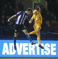 Preston North End's Alan Browne jumps with Sheffield Wednesday's Morgan Fox<br /> <br /> Photographer Mick Walker/CameraSport<br /> <br /> The EFL Sky Bet Championship - Sheffield Wednesday v Preston North End - Saturday 22nd December 2018 - Hillsborough - Sheffield<br /> <br /> World Copyright &copy; 2018 CameraSport. All rights reserved. 43 Linden Ave. Countesthorpe. Leicester. England. LE8 5PG - Tel: +44 (0) 116 277 4147 - admin@camerasport.com - www.camerasport.com