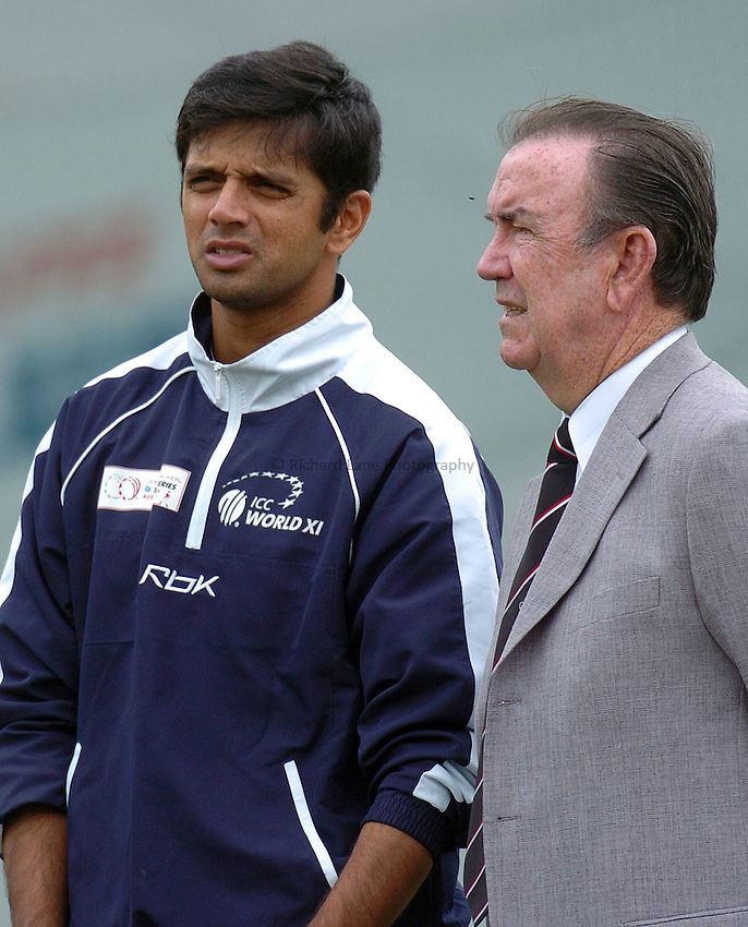 Photo: Steve Holland..Test Match Series. Australia v ICC World XI. 13/10/2005. World Training session..Rahul Dravid of  India and former Australian captain Bob Simpson