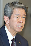 July 21, 2015, Tokyo, Japan - Toshiba President Hisao Tanaka attends news conference at the company HQ in Tokyo on Tuesday, July 21, 2015. Tanaka and two other executives resigned to take responsibility for a $1.2 billion accounting scandal involving inflating its profit over several years. (Photo by AFLO)