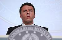 Il Presidente del Consiglio Matteo Renzi tiene una conferenza stampa al termine del Consiglio dei Ministri a Palazzo Chigi, Roma, 13 giugno 2014.<br /> Italian Premier Matteo Renzi attends a press conference at the end of a cabinet meeting at Chigi Palace, Rome, 13 June 2014.<br /> UPDATE IMAGES PRESS/Isabella Bonotto