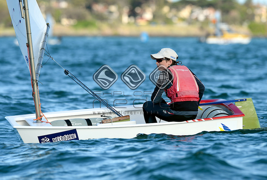 Optimist / Charlie HIAM (AUS)<br /> 2013 ISAF Sailing World Cup - Melbourne<br /> Sail Melbourne - The Asia Pacific Regatta<br /> Sandringham Yacht Club, Victoria<br /> December 1st - 8th 2013<br /> &copy; Sport the library / Jeff Crow