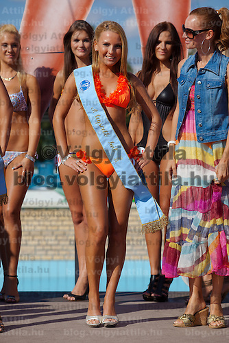Szimonetta Simon winner of the prize for the most back butt during the Miss Bikini Hungary beauty contest held in Budapest, Hungary. Sunday, 29. August 2010. ATTILA VOLGYI