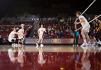 STANFORD, CA - January 17, 2019: Jordan Ewert, Eric Beatty, Stephen Moye, Paul Bischoff at Maples Pavilion. The Stanford Cardinal defeated UC Irvine 27-25, 17-25, 25-22, and 27-25.