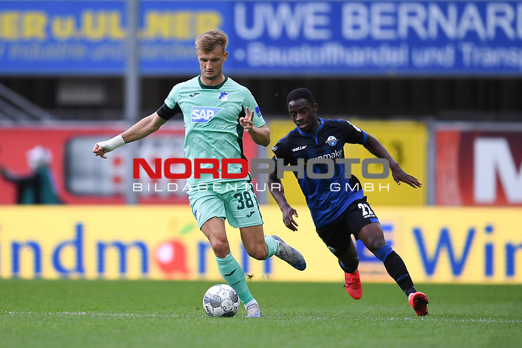 Stefan Posch (TSG 1899 #38) gegen Christopher Antwi-Adjei (SC Paderborn #22), <br /><br />Foto: Edith Geuppert/GES /Pool / Rauch / nordphoto <br /><br />DFL regulations prohibit any use of photographs as image sequences and/or quasi-video.<br /><br />Editorial use only!<br /><br />National and international news-agencies out.