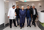 Palestinian President Mahmoud Abbas walks inside the hospital in Ramallah, in the occupied West Bank May 21, 2018. Photo by Thaer Ganaim