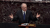 In this image from United States Senate television, Alan Dershowitz, counsel to the President, makes his presentation during the impeachment trial of US President Donald J. Trump in the US Senate in the US Capitol in Washington, DC on Monday, January 27, 2020.<br /> Mandatory Credit: US Senate Television via CNP