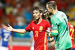 Spain's David Silva (l) and Liechtenstein's Peter Jehle have words during FIFA World Cup 2018 Qualifying Round match. September 5,2016.(ALTERPHOTOS/Acero)