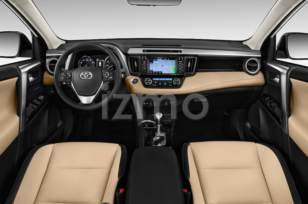 Stock photo of straight dashboard view of 2016 Toyota RAV4 Limited 5 Door SUV Dashboard