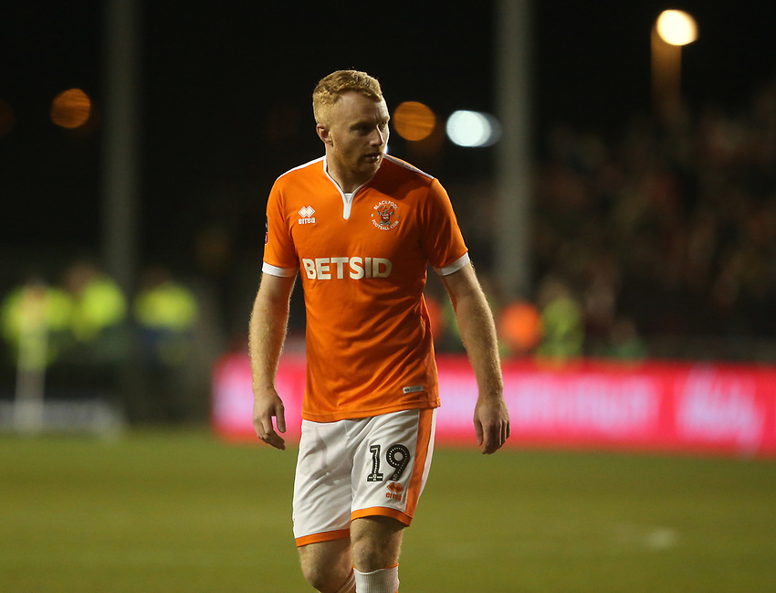 Blackpool's Chris Taylor<br /> <br /> Photographer Stephen White/CameraSport<br /> <br /> Emirates FA Cup Third Round - Blackpool v Arsenal - Saturday 5th January 2019 - Bloomfield Road - Blackpool<br />  <br /> World Copyright © 2019 CameraSport. All rights reserved. 43 Linden Ave. Countesthorpe. Leicester. England. LE8 5PG - Tel: +44 (0) 116 277 4147 - admin@camerasport.com - www.camerasport.com