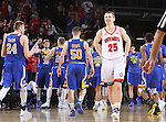 SIOUX FALLS, SD: MARCH 6: Tyler Hagedorn #25 of South Dakota reacts to a loss to South Dakota State during the Summit League Basketball Championship on March 6, 2017 at the Denny Sanford Premier Center in Sioux Falls, SD. (Photo by Dave Eggen/Inertia)