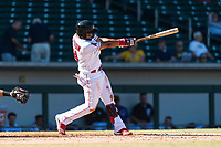 Mesa Solar Sox third baseman Roberto Baldoquin (24), of the Los Angeles Angels organization, follows through on his swing during an Arizona Fall League game against the Salt River Rafters at Sloan Park on October 30, 2018 in Mesa, Arizona. Salt River defeated Mesa 14-4 . (Zachary Lucy/Four Seam Images)