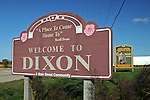 The welcome sign stands by the side of the road in Dixon, Illinois on October 26, 2008.  Dixon is the boyhood home of former U.S. President Ronald Reagan.