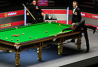 Barry Hawkins pots a red ball during the Dafabet Masters FINAL between Barry Hawkins and Ronnie O'Sullivan at Alexandra Palace, London, England on 17 January 2016. Photo by Liam Smith / PRiME Media Images