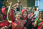 Women gather to celebrate International Women's Day on March 8, 2016, in Dhawa, a village in the Gorkha District of Nepal.