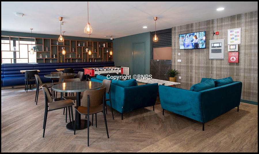 BNPS.co.uk (01202 558833)<br /> Pic:   PhilYeomans/BNPS<br /> <br /> Are these Britain's poshest student digs?<br /> <br /> Luxury university accommodation has been unveiled at a seaside resort - and it is a far cry from the traditional grotty student digs.<br /> <br /> The lavish new development in Bournemouth, Dorset, has 101 rooms that come with an en suite bathroom, kitchen and study area.<br /> <br /> Some of the suites, that resemble high end hotel rooms, even have sea views.<br /> <br /> The building also has its own fitness suite, on-site cinema, communal lounge, games room and even a private 'dinner party' room. A karaoke room is also planned to be built.