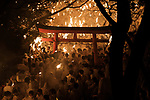 Festival-goers holding torch gather inside the shrine during Oto-matsuri festival at Kamikura-shrine in Shingu City, Wakayama Prefecture on Feb.6, 2020. The participants, called noboriko, run down the mountainside to pray for a family safety and good harvest. The festival, originated in 1400 years ago, (with a rule the rule that women are barred from the mountain on the day) takes place on February 6, every year. February 06, 2020 (Photo by Nicolas Datiche/AFLO) (JAPAN)