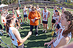 Santa Barbara, CA 02/13/10 - Texas Coach Brandi Leach and her team during half time against Oregon.  Texas defeated Oregon 11-9.