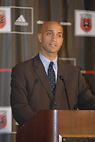 District of Columbia Mayor Adrian Fenty addresses the press at the presentation of DC United Holdings as the new group that owns and controls the operating rights for DC United of Major League Soccer, January 8, 2007.