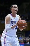 08 February 2015: Duke's Rebecca Greenwell. The Duke University Blue Devils hosted the Clemson University Tigers at Cameron Indoor Stadium in Durham, North Carolina in a 2014-15 NCAA Division I Women's Basketball game. Duke won the game 89-60.