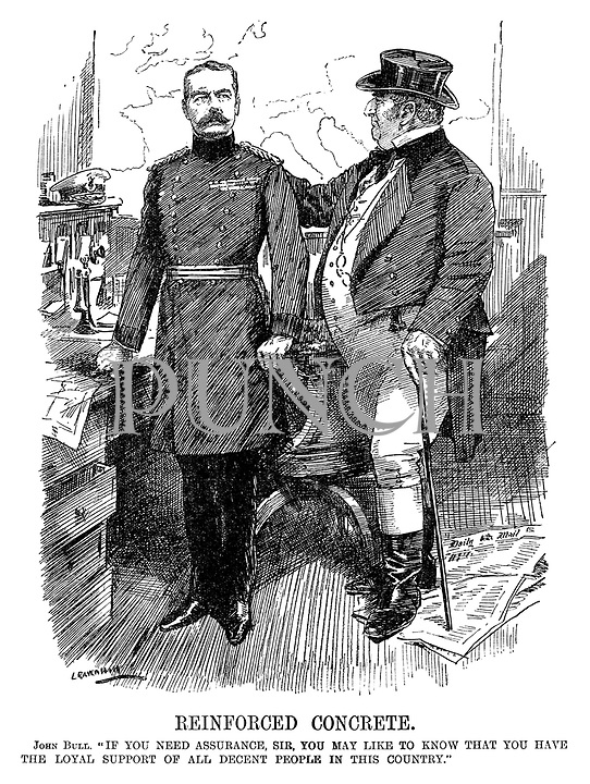 """Reinforced Concrete. John Bull. """"If you need assurance, sir, you may like to know that you have the loyal support of all decent people in the country."""" (John Bull places a hand on Lord Kitchener's shoulder during WW1 as he stands on a copy of the Daily Mail)"""