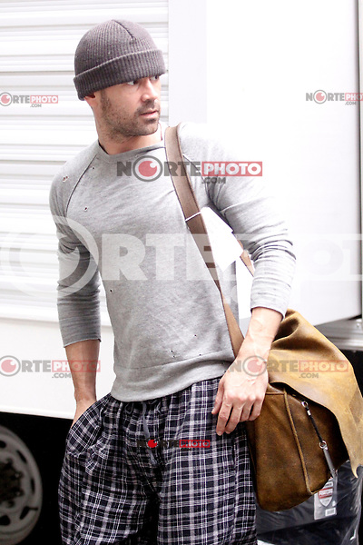 Colin Farrell pictured on set of of Dead Man Down on Walnut Street in Philadelphia, Pa on May 3, 2012  © Star Shooter / MediaPunchInc