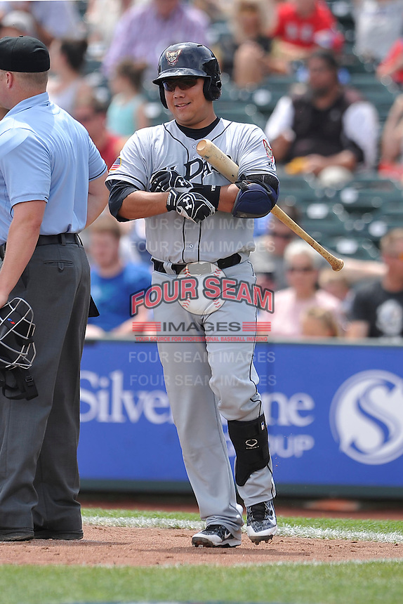 El Paso Chihuahuas Ricardo Valenzuela (18) walks to the plate during the game against the Omaha Storm Chasers at Werner Park on May 30, 2016 in Omaha, Nebraska.  El Paso won 12-0.  (Dennis Hubbard/Four Seam Images)