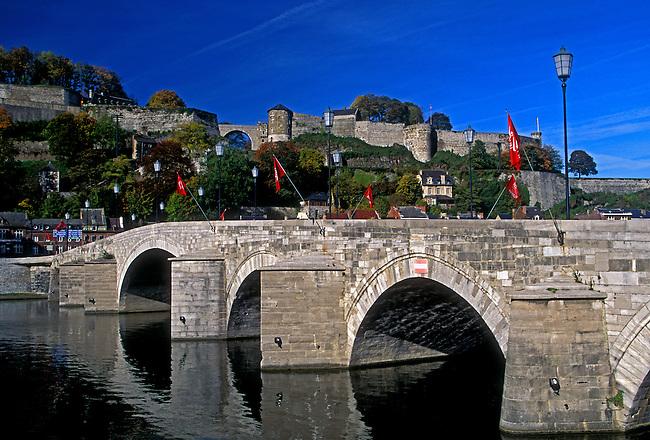 Pont de Jambes, bridge, Citadel along Meuse River, city of Namur, Walloon Region, Belgium, Europe