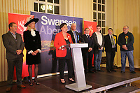 Pictured: Tonia Antoniazzi (C) gives her acceptance speech. Friday 09 June 2017<br /> Re: Counting of ballots at Brangwyn Hall for the general election in Swansea, Wales, UK