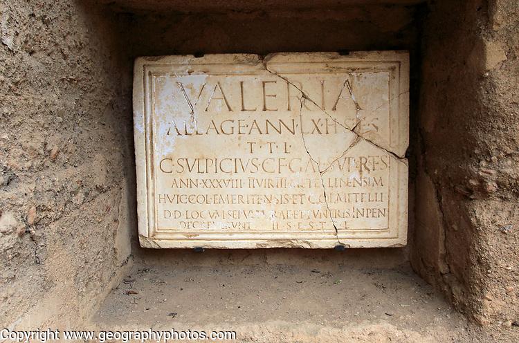 Columbarios Roman burial ground funerary memorial monument, Merida, Extremadura, Spain