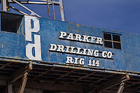 The Parker Drilling Rig #114 on Route 66 in Elk City Oklahoma.  The Rig is 179 feet high and is one of the largest drilling rigs in the world.  Originally built in the 1960 to drill shafts for underground nuclear testing, and moved to Oklahoma in the 1980's.