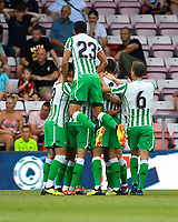 Real Betis players celebrates the goal scored by Ryad Boudebouz of Real Betis during AFC Bournemouth vs Real Betis, Friendly Match Football at the Vitality Stadium on 3rd August 2018