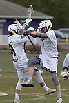 St Rose High Schol takes on Red Bank Regional High School in a boys varsity lacrosse held in Wall Township.<br />  St. Rose High School players Ryan Harms (left) and Logan Lemoult celebrate a first half goal vs. Red Bank Regional. (3/28/18)<br /> (MARK R. SULLIVAN /THE COAST STAR)