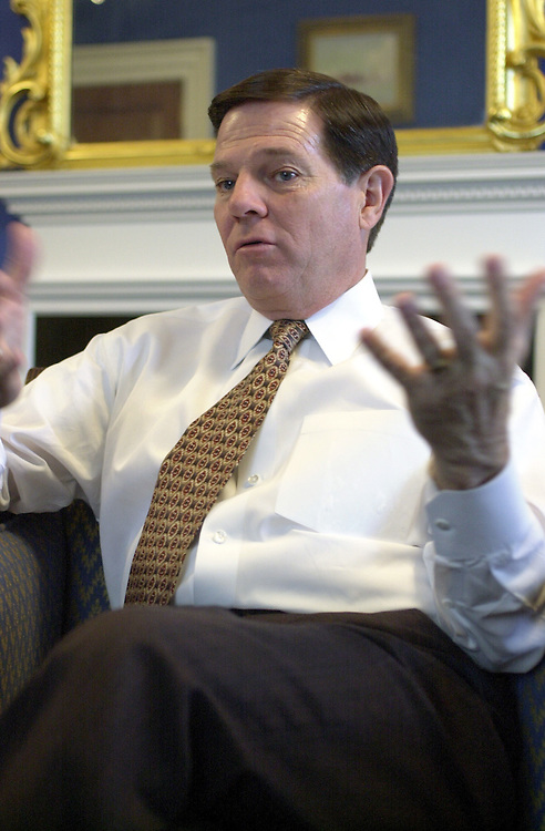 8delay120600 -- Tom Delay, R-Texas, during an interview in his office.