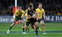 Richie Mo'unga of the All Blacks makes a break during the Rugby Championship match between Australia and New Zealand at Optus Stadium in Perth, Australia on August 10, 2019 . Photo: Gary Day / Frozen In Motion