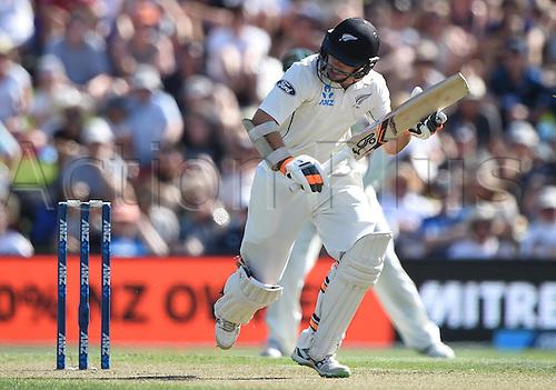 20.02.2016. Christchurch, New Zealand.  Tom Latham. New Zealand Black Caps versus Australia. Day 1, 2nd test match, Hagley Oval in Christchurch, New Zealand. Saturday 20 February 2016.