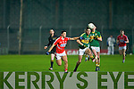 Ciaran Keatin Kerry in action with James Davis Cork in the Cabury Musster U21 Quarter Final 2014 at Austin Stack Park Tralee on Wednesday night.