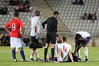 Sam Field of England and West Brom was forced to leave the field with an injury during Chile Under-21 vs England Under-20, Tournoi Maurice Revello Football at Stade Parsemain on 7th June 2019