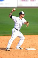 Detroit Tigers second baseman Jeff Kobernus #46 during a Spring Training game against the Atlanta Braves at Joker Marchant Stadium on February 27, 2013 in Lakeland, Florida.  Atlanta defeated Detroit 5-3.  (Mike Janes/Four Seam Images)