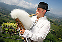 Italian Bag Pipe (Zanpogna) player, Massimo Antonelli, Picinisco, Italy.
