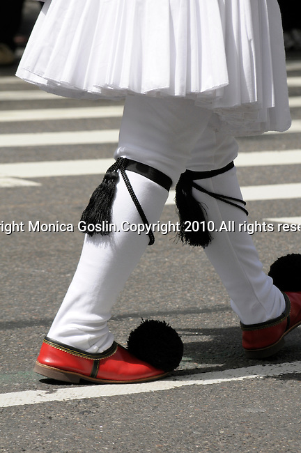 Greek Parade in New York City.  Man's shoes in the Greek Parade in New York City.