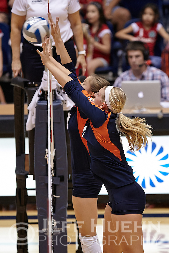 SAN ANTONIO, TX - SEPTEMBER 20, 2014: The University of Texas at San Antonio Roadrunners defeat the Baylor University Bears 3-1 (25-22, 25-18, 18-25, 25-9) at the UTSA Convocation Center. (Photo by Jeff Huehn)