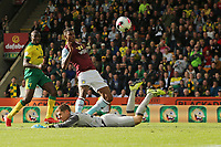 Wesley of Aston Villa in action has the rebound from the penalty saved during Norwich City vs Aston Villa, Premier League Football at Carrow Road on 5th October 2019