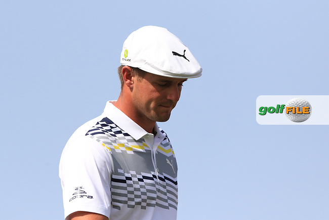 Bryson Dechambeau (USA) on the 4th tee during Round 3 of the Omega Dubai Desert Classic, Emirates Golf Club, Dubai,  United Arab Emirates. 26/01/2019<br /> Picture: Golffile | Thos Caffrey<br /> <br /> <br /> All photo usage must carry mandatory copyright credit (&copy; Golffile | Thos Caffrey)