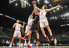 Robert Connors #15 of Chaminade, right, battles for a rebound during a non-league varsity boys basketball game against Half Hollow Hills East at Nassau Coliseum in Uniondale on Sunday, Jan. 21, 2018. Hills East won by a score of 90-68.