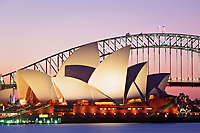Sydney Opera House and Sydney Harbour Bridge at dusk, Sydney, New South Wales, Australia