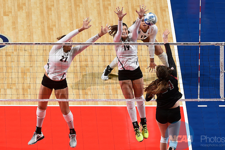 COLUMBUS, OH - DECEMBER 17:  Yaazie Bedart-Ghani (27) and Paulina Prieto Cerame (19) of the University of Texas attempt a block against Stanford University during the Division I Women's Volleyball Championship held at Nationwide Arena on December 17, 2016 in Columbus, Ohio.  Stanford defeated Texas 3-1 to win the national title. (Photo by Jamie Schwaberow/NCAA Photos via Getty Images)