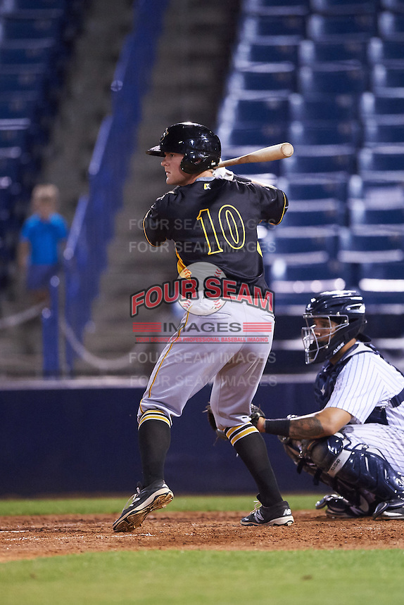 Bradenton Marauders designated hitter Chase Simpson (10) at bat during a game against the Tampa Yankees on April 11, 2016 at George M. Steinbrenner Field in Tampa, Florida.  Tampa defeated Bradenton 5-2.  (Mike Janes/Four Seam Images)