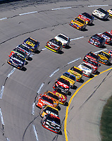 Dale Earnhardt leads the pack enroute to victory in the Winston 500 at Talladega, AL in October, 2000. It was the final win of Earnhardt's career. (Photo by Brian Cleary/www.bcpix.com)