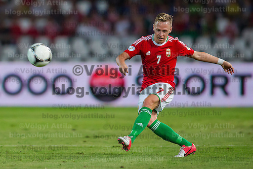 Hungary's Balazs Dzsudzsak kicks the ball during a World Cup 2014 qualifying soccer match Hungary playing against Netherlands in Budapest, Hungary on September 11, 2012. ATTILA VOLGYI